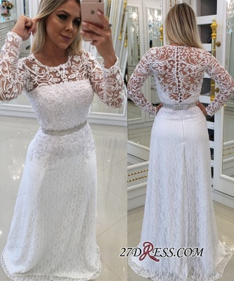 Scoop Long-Sleeves Lace White Buttons Evening Dress_2