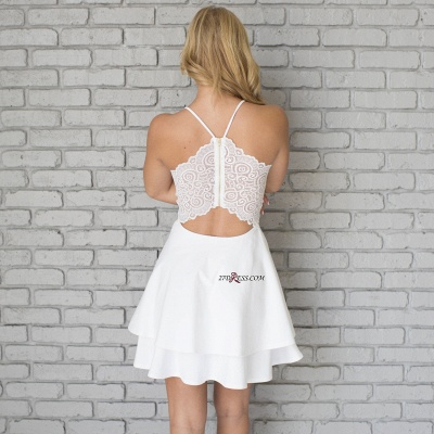 White Spaghetti-Strap Cute Lace Mini Sleeveless Homecoming Dress_4