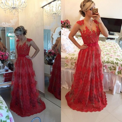 Sexy Red Pearls Lace Evening Dress 2020 Sheer Floor-Length BT0_2