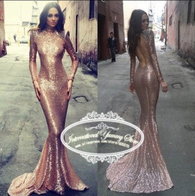 Sexy Sequined Mermaid Long Sleeve Prom Dress 2020 High Neck Sweep Train_4