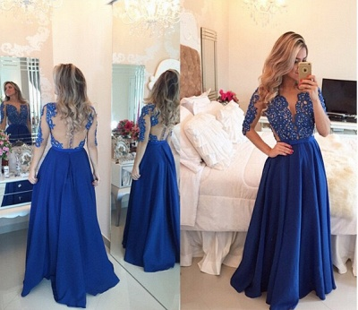 Delicate Chffion Royal Blue 2020 Prom Dress Lace Appliques Half Sleeve_2
