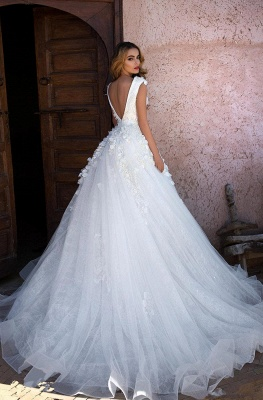 Glamorous V-Neck Cap Sleeves Wedding Dress | Long Lace Appliques Bridal Gowns On Sale_4