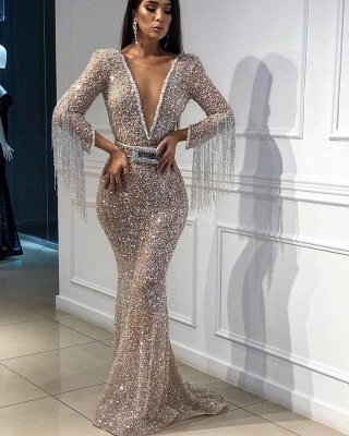 Sexy Deep V-Neck Floor-Length Sequins Evening Gown | Mermaid Crystals Tassels Prom Dress With Bow BC0627_2