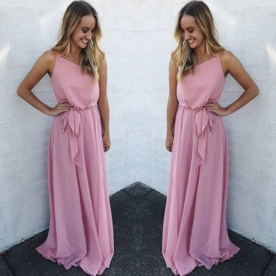 New Arrival Spaghetti Strap Sleeveless Chiffon Prom Gown | A Line Floor Length Pink Evening Dress On Sale_2