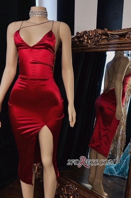 Spaghetti-Straps Fascinating Side-Split Sheath Tea-Length Red Prom Dresses_1