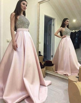 Sequin Beading Round-neck Pink Sweep-train A-line Elegant Prom Dress_2