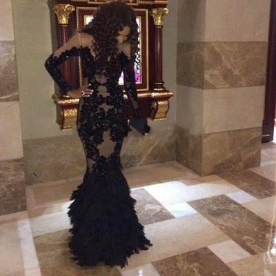 Sexy Black Mermaid 2020 Prom Dresses Long Sleeve Tulle Appliques_3