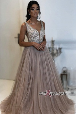 Gorgeous Tulle Sleeveless V-Neck Formal Dresses | A-Line Sequins Cheap Prom Dresses_2