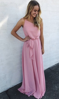 New Arrival Spaghetti Strap Sleeveless Chiffon Prom Gown | A Line Floor Length Pink Evening Dress On Sale_1