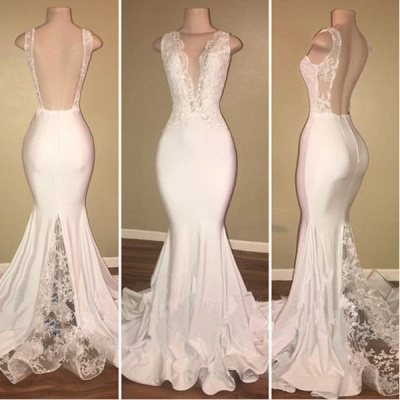 Elegant White Lace 2020 Evening Dress Mermaid Lace Backless Party Gowns BA7772_3