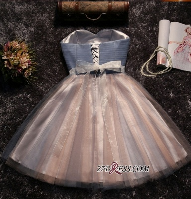 Chic Tulle Short A-Line Prom Dresses | Sweetheart Sleeveless Crystals Party Dresses_6