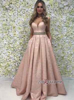 Exquisite Crystal-Sashes Lace A-Line Prom Dresses | 2020 Fashion Sweetheart Sleeveless Evening Gowns_2