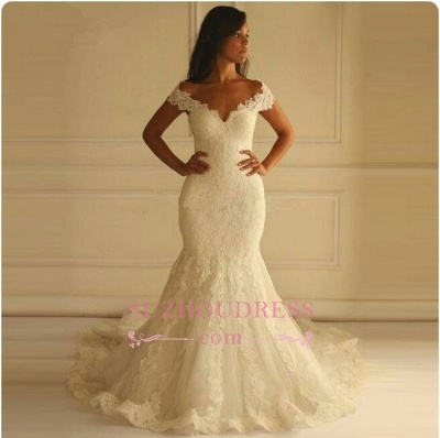 Elegant Off-shoulder Long Matermaid Wedding Dress With Lace Appliques_1