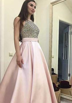 Sequin Beading Round-neck Pink Sweep-train A-line Elegant Prom Dress_1