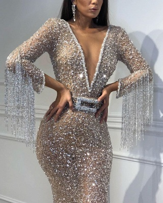 Sexy Deep V-Neck Floor-Length Sequins Evening Gown | Mermaid Crystals Tassels Prom Dress With Bow BC0627_4