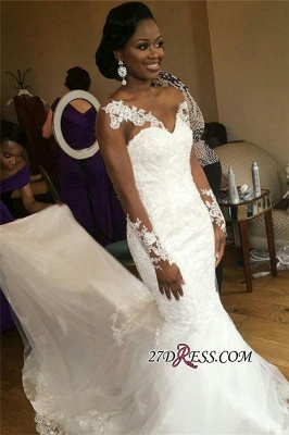 2020 Jewel Lace Sheer-Neck Illusion Appliques Mermaid Long-Sleeve Nigeria Wedding Dresses_3