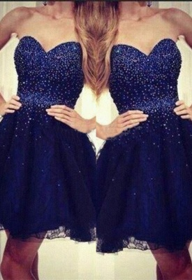 2020 Strapless Sweetheart Short Beading Tulle Navy-Blue Sequins Homecoming Dresses_3