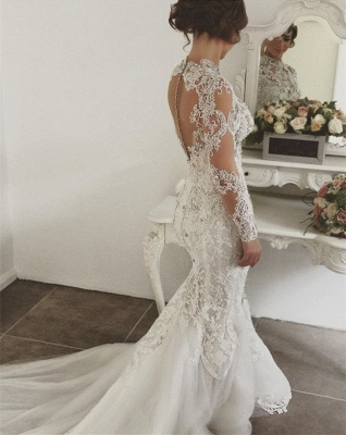 Glamorous Long Sleeve Crystal Wedding Dress | 2020 Mermaid Lace Bridal Gowns_2