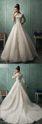 Elegant 3/4 Sleeve Lace Appliques Wedding Dresses Chapel Train Bridal Gowns with Bottons_3