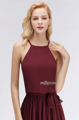 Cheap Chiffon Burgundy Simple A-Line Bridesmaid Dress_1