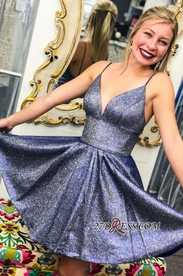 Spaghetti-straps A-line Short Glitter Homecoming Dresses_1