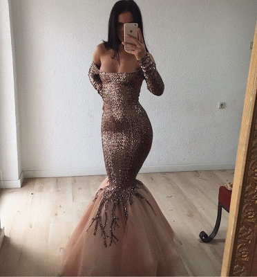 Gorgeous Long Sleeve Sequins Prom Dresses | 2020 Mermaid Long Evening Gowns_2