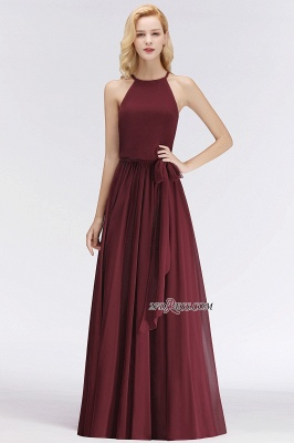 Cheap Chiffon Burgundy Simple A-Line Bridesmaid Dress_3