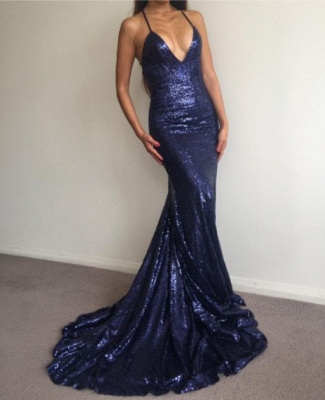 Sexy Halter V-Neck Sequins Prom Dress 2020 Backless Mermaid Evening Gowns BA7154_1