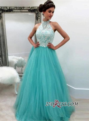 2020 Lace Tulle Elegant Sleeveless High-Neck A-line Evening Dress_2