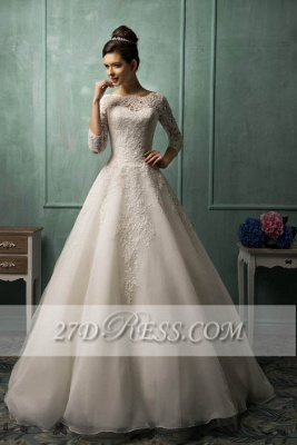 Elegant 3/4 Sleeve Lace Appliques Wedding Dresses Chapel Train Bridal Gowns with Bottons_1