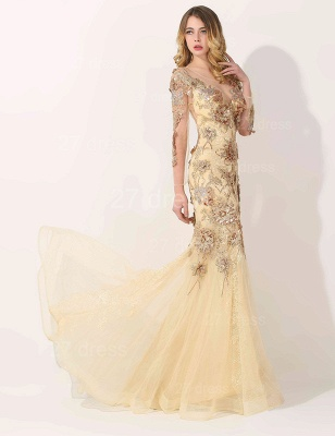 Glamorous Long Sleeve Evening Dress 2020 Appliques Tulle Long_2