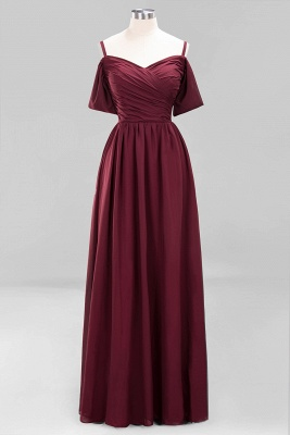 Sexy Spaghetti Strap Draped 2020 Prom Dress | Burgundy A-Line Evening Gowns With Zipper_1