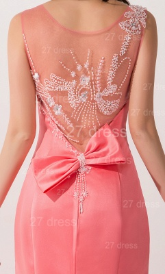 Newest Mermaid Pink Sequins Evening Dress Illusion Sweep Train_3