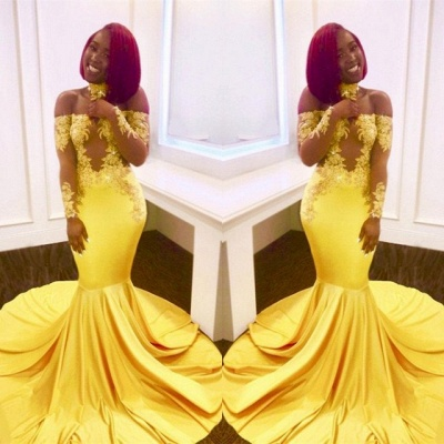 Off-the-shoulder yellow prom dress, mermaid long evening gowns BA7903_3