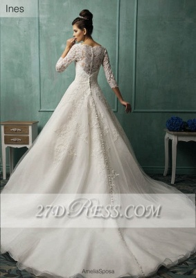 Elegant 3/4 Sleeve Lace Appliques Wedding Dresses Chapel Train Bridal Gowns with Bottons_2