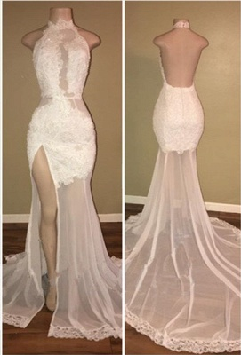 Elegant White Lace Halter 2020 Prom Dress Mermaid Backless Party Dress With Slit BA8228_1