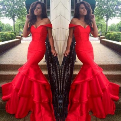 Sexy red Mermaid 2020 Prom Dress Off the shoulder With Ruffles BK0_3