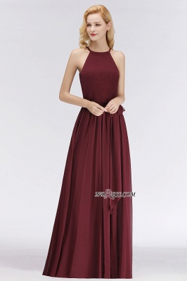 Cheap Chiffon Burgundy Simple A-Line Bridesmaid Dress_5