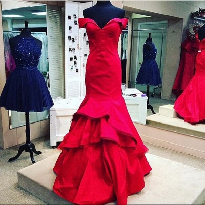 Sexy red Mermaid 2020 Prom Dress Off the shoulder With Ruffles BK0_4