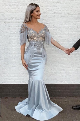 Gorgeous V-Neck Mermaid Prom Dresses With Tassels | Lace Long Evening Gowns_1
