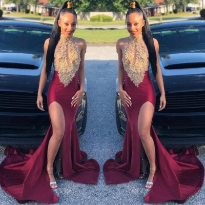 Burgundy Halter 2020 Evening Gown | Lace Appliques Mermaid Slit Prom Dress BC1513_2