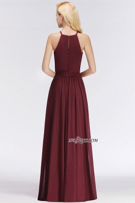 Cheap Chiffon Burgundy Simple A-Line Bridesmaid Dress_4