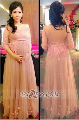 Elegant 3/4-length Sleeve Tulle Maternity Prom Dress With Lace Appliques Flowers_2