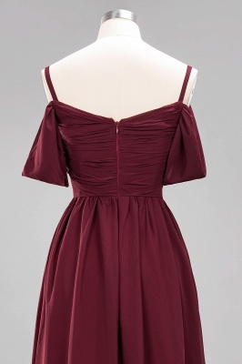 Sexy Spaghetti Strap Draped 2020 Prom Dress | Burgundy A-Line Evening Gowns With Zipper_5