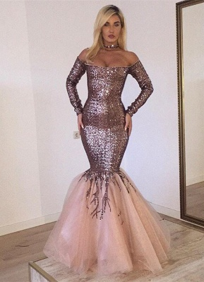 Gorgeous Long Sleeve Sequins Prom Dresses | 2020 Mermaid Long Evening Gowns_1