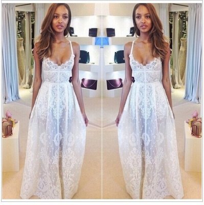 Glamorous Sleeveless Spaghetti Straps Prom Dress With Lace Floor Length Evening Gowns BK0_2