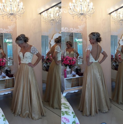 Gorgeous Sweetheart Cap Sleeve Evening Dress Lace Peals Long Chiffon Prom Gowns_2