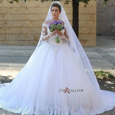 Ball-Gown Tulle Lace Appliques Beadings Elegant Long-Sleeves Wedding Dresses_2