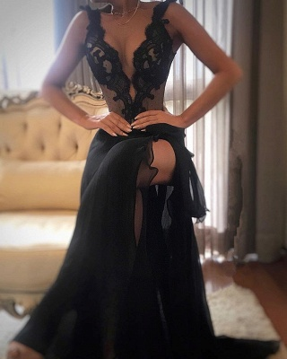 Sexy Black Prom Dress | 2020 Lace Evening Gowns With Slit_1
