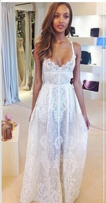 Glamorous Sleeveless Spaghetti Straps Prom Dress With Lace Floor Length Evening Gowns BK0_1